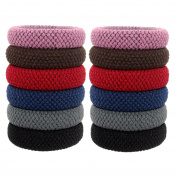 Fashion & Lifestyle 12 Pack Large Hair Ties Pony Ponytail Holders - Thick Solid Stretchy Elastic Hair Bands Boutique Woven Ropes for Girls Women and Ladies