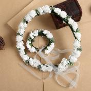 Efivs Arts Bridal Flower Garland Crown Flower Headband Hair Wreath Halo with Flower Wrist Corsage for Wedding Festivals