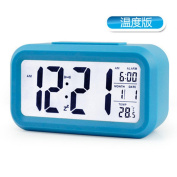 Fashion Pastoral Three-dimensional Alarm Clock Ultra-quiet With Luminous Double Bell Alarm Clock Student Bed Clock Electronic Clock Digital Big Bell ,Blue