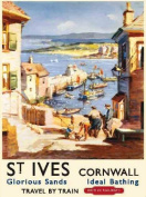 St Ives Harbour, Cornwall. British Railway Cornish Hoilday Advert for Sea Side or day trips. Kirchen, Holiday, Summer, Pub, Restaurant, cafe, coffee shop. Small Metal/Steel Wall Sign
