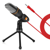PC Microphone, DISDIM 3.5mm Jack Condenser Recording Microphone with Mic stand for PC, Laptop, iPhone, iPad, Mac, Smartphone - Gaming, Singing, YouTube, Skype