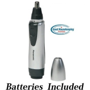 Panasonic All-in-One Nose & Ear Hair Trimmer with Dual-Edge Stainless Steel Blade, Wet/Dry Operation, & Protective Cap Silver * Batteries Included *