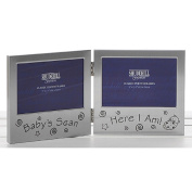 Shudehill Baby Scan Here I Am Double Photo Frame Picture Ultrasound 72186 | Ideal for Baby Showers New Mums and Parents | Polished Satin Silver