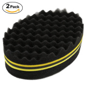 NIRVANA Hair Twist Sponge Styling Tool For Dreads Afro Locs Twist Curl Coil Super Nice Yellow/Red(2 Pack)