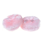 CosCosX 2 Pieces Cosmetic powder puff Soft, Ultra Soft Plush Baby Fluffy Powder Puff with Cute Bowknot Design - Pink