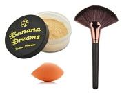 Makeup Setting Baking/Bake Set : W7 Banana Dreams Yellow Highlighter Corrector Enhancer Contour Setting Loose Powder 20g + LyDia® Large Rose-Gold Fan Cheek/Blending/Contour/Highlighter/Bronzer/Dust Makeup Brush + LyDia® Mini Sponge Beauty Blender