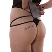 "2 x ""Spank Me"" Tattoo Lettering in black - Sexy Kinky BDSM Fetish Tattoo"