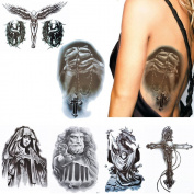 6 Sheets Pray Pattern Temporary Tattoo Body Makeup Arm Abdominal Muscle Art Sticker