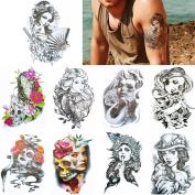 9 Sheets Beauty Women Body Tattoo Arm Back Art Temporary Flower Sticker Set