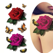 ADIASEN 3D pretty sexy rose with butterfly design for women girl Waterproof Temporary Tattoos