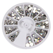 Familizo 3D Acrylic Nail Art Gems Crystal Rhinestones DIY Decoration Wheel Round