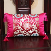 Balalaly Chinese Fancy Silk Satin Cloak Cushion Pillow Pillow Pillow Pillow, 50X50Cm (Without Core), Rose Red