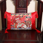 Balalaly Chinese-Style Retro Silk Brocade Brooch Pillow Pillow Pillow Pillow Pillow, 45X45Cm (Without Core), Red Unicorn