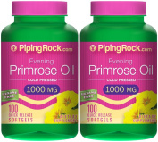 Piping Rock Evening Primrose Oil Cold Pressed 1000 mg 2 Bottles x 100 Quick Release Softgels Hexane Free Dietary Supplement