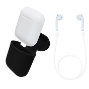 Silicone AirPods Case + AirPods Strap, EUGO Shock Proof Silicone Protective Case Cover for Apple AirPods and 52CM Wire Cable Connector - Black