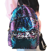 LA HAUTE Fashion PU Sequin Backpacks Glitter School Bags Travel Shopping Bags Casual Daypacks,Blue