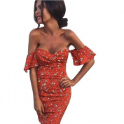 Women Dresses, Women Off Shoulder Short Sleeve Floral Printed Bodycon Short Mini Dress