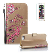 For iPhone 7 Case 12cm Cover,Funyye Elegant Premium Folio PU Leather Wallet Magnetic Flip Cover with [Wrist Strap] and [Credit Card Holder Slots] Stand Function Book Type Stylish colourful Butterfly Leaf Vines Designs Full Protection Holster Skin She ..