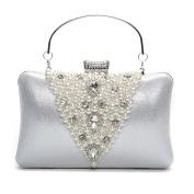 Women Pearl Beaded Rhinestone Clutch Bag Prom Party Wedding Handbag Beaded Envelope Clutch Purse