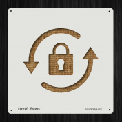 Secure File Key Lock Padlock Style 19195 DIY Plastic Stencil Acrylic Mylar Reusable