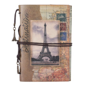 Ai-life European Style Vintage Leather Journal Notebook, Retro Spiral Bound Loose-leaf Refillable Planner Sketchbook Diary Traveller Notebook with Blank Inserts Zipper Pocket, Size
