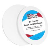 U.S. Art Supply 50cm Diameter Round 350ml Primed Gesso Professional Quality Acid-Free Stretched Canvas