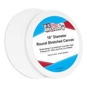 U.S. Art Supply 41cm Diameter Round 350ml Primed Gesso Professional Quality Acid-Free Stretched Canvas
