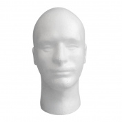 Vanvler Male Styrofoam Mannequin Manikin Head Model Foam Wig Hair Glasses Display Stand