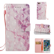 EC-touch Simple Beautiful Colourful Flower [Magnetic] Style PU Leather Case Wallet Flip Stand [Flap Closure] Cover for Iphone 5/SE,6S,6S Plus,7,7 Plus