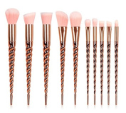 Unicorn Makeup Brushes Set Make up Brushes Professional Foundation Powder Eyeshadow Blending Concealer Cosmetics Tools Brushes Kit 10PCS Gold