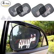 Biubee 4 Pack Car Window Sun Shade-50cm x 38cm with Two Extra Suction Cups Safety Car Sunshade Protect Baby & Infants from Sun, Glare And UV Rays