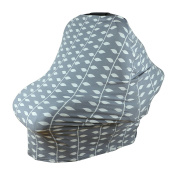 Baby Car Seat & Nursing Cover & Drawstring Carry Bag in Grey Ivy Design Shower Gift Breathable Stretchy Universal 4 in 1 Multi-Use Infant Carseat Canopy Covers Shopping Cart High Chair Stroller