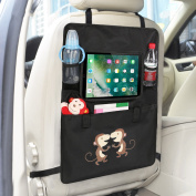 Luxury Car Back Seat Organiser with Tablet Holder - Touch Screen Pocket for Android & iOS Tablets up to 26cm x 19cm - Multipurpose Use as Auto Seat Back Protector, Kick Mat, Car Organiser by Intipal