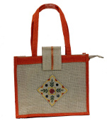 Jute / Burlap Beach Embroidered Tote Bag Zippered Closure Holiday Gift Shoulder Hand Bags