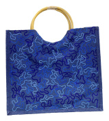 Dark Blue Eco Friendly Jute Tote Beach Shopping Bag with Wood Cane Handles