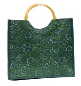 Green Eco Friendly Jute Tote Beach Shopping Bag with Wood Cane Handles