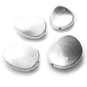 Heather's cf 19 Pieces Silver Tone Smooth Tiwsted Flat Beads Findings Jewellery Making 18mmX14mm