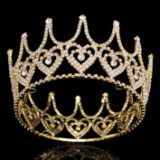 Stuffwholesale Crystal Heart King Crown Gold Tiara Hair Accessories