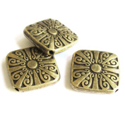 Heather's classic Finding 15 Pieces Brass Tone Pattern Square Flat Beads Findings Jewellery Making 16mm