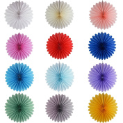 Fowod 12 Pack Decorative Paper Fan Home Party Decorations,Assorted Colours