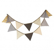 3.3M/10.8Feet Triangle Flag Vintage Wedding Bunting Floral Cotton Banner Kit Pennant Garland for Birthday Party, Outdoor Hanging Decoration