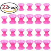 ZesGood 22Pcs Hair Curlers Magic Hair Care Roller No Clip Soft Hair Style Roller, Pink