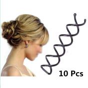 FuzzyGreenÂÂ 10 Pcs Spiral Spin Screw Pin Hair Clip Twist Barrette(Black) by FuzzyGreen