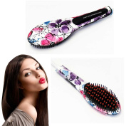 PU Beauty Essential Ceramic Hair Straightening Detangling Brush for Stunning Hair, Flowers, 590ml