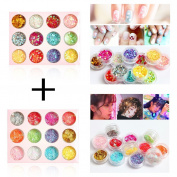 DIY 12 Colours Hollow & Solid Heart Star Iridescent Glitter Sequins Spangle 2 Sets for Nail Art Tip Deco Crafts Project