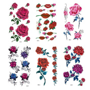 MIMAN 6 Sheets Large Temporary Tattoos Flower Paper Sexy Body Tattoo Sticker for Women & Girl Fake Tattoo
