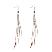 Missgrace Women Seaside Vacation Vintage Bohemia Natural Feather Earrings Fancy Long Natural Feather Earrings