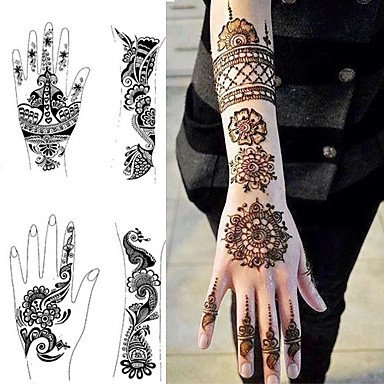 1Pcs Tattoo Templates Hands/Feet Henna Tattoo Stencils for Airbrushing  Professional Mehndi New Body Painting Kit