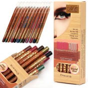 Aurorax Women 12 Colour Beauty Eye Shadow Eyeliner Woodiness Pencil Makeup Cosmetic Set