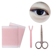 Women Lady Girls Invisible Fibre Double Sided Eyelid Tape Stickers with Fork Rod and Beauty Scissor